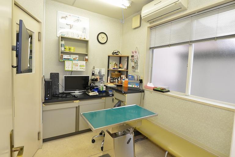 犬の診察室は二つあります。ここでは顕微鏡で見たフィラリアや糞便の中にいる虫や卵などがテレビに写し出されます。